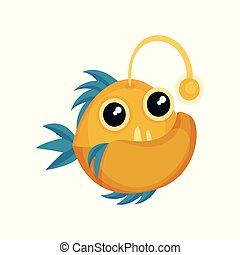 Funny yellow piranha with blue fins, big teeth and shiny eyes. Sea animal. Flat vector for kids t-shirt print or mobile game