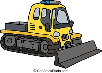 Funny yellow snowplow - Hand drawing of a funny yellow small...