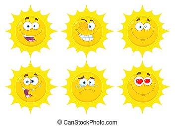 Funny Yellow Sun Cartoon Emoji Face Series Character Set 1. Flat Design Collection