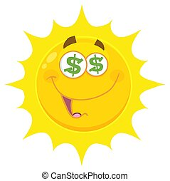 Funny Yellow Sun Cartoon Emoji Face Character With Dollar...