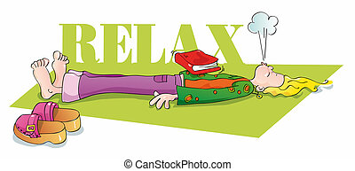funny yogi relaxing and breathing - illustration of woman ...