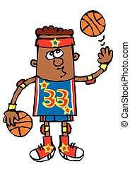 funny young boy basketball player cartoon