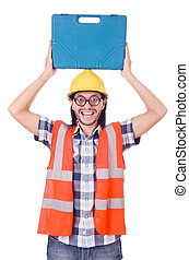 Funny young construction worker with toolbox isolated on white