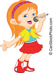 young girl singing - funny young girl singingillustration
