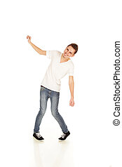 Funny young man isolated on a white background