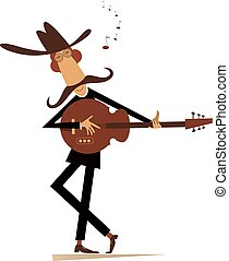 Cartoon man in the cowboy hat is playing guitar isolated on white