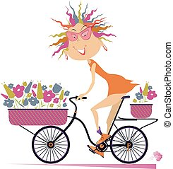 Funny young woman, a bike and bouquets of flowers illustration