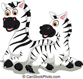 funny zebra cartoon with her baby - vector illustration of...