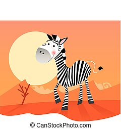 Funny zebra - Vector Illustration of funny animal. JPG and...