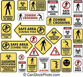 Funny Zombie Apocalypse Signs, Symbols and Billboards Vector eps8 big collection