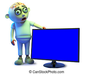 Funny zombie monster likes the look of his new flatscreen hd tv monitor, 3d illustration render