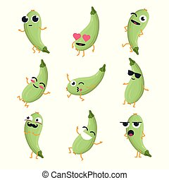 Funny zucchini - vector isolated cartoon emoticons. Cute...