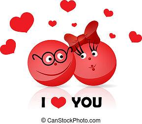 Funy couple. I LOVE YOU text. - Vector. Fresh creative...
