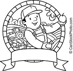 Funy farmer or gardener. Coloring book. Emblem