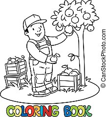 Funy farmer or gardener with apples. Coloring book
