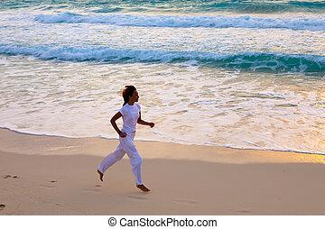 funziona, donna, costa, tramonto, lungo, oceano