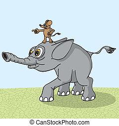 funziona, mouse., elefante, naprvlyaemy