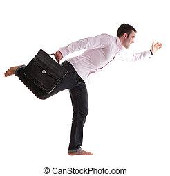 funzionamento uomo affari, cartella, isolato