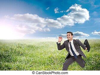 funzionamento uomo affari, gioioso, presa a terra, valigia