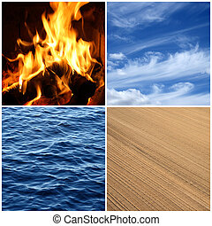 fuoco, acqua, aria, earth., quattro, elements.
