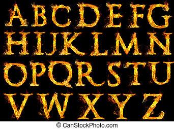 fuoco, alfabeto, lettere