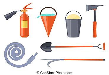 fuoco, apparecchiatura, bianco, protezione, collezione
