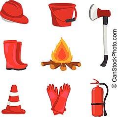 fuoco, apparecchiatura, vettore, disegno, collezione