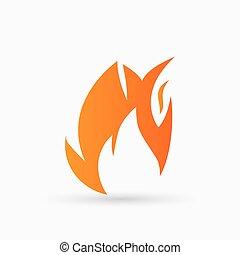 fuoco, arancia, astratto, vettore, icona