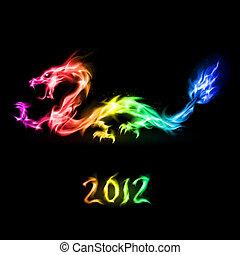 fuoco, arcobaleno, drago
