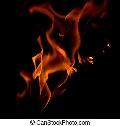 fuoco, astratto, black.