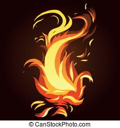 fuoco, astratto, -, luminoso, vettore, icona