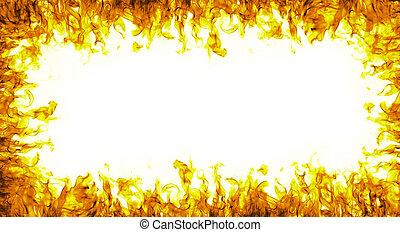 fuoco, astratto, sfondo bianco, cornice