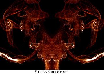 fuoco, astratto, sfondo nero, fumo
