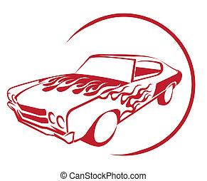 fuoco, automobile, muscolo