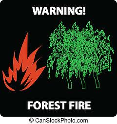 fuoco, avvertimento, foresta, segno