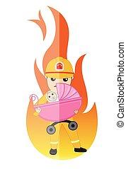 fuoco, bambino, risparmia, pompiere