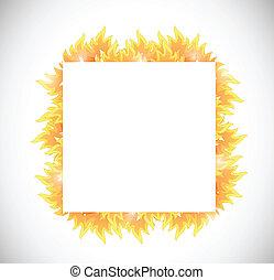 fuoco, bandiera, disegno, illustrazione