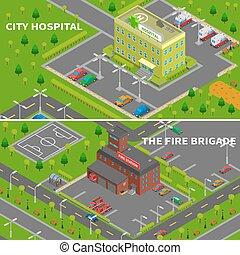 fuoco, bandiere, isometrico, stazione, ospedale