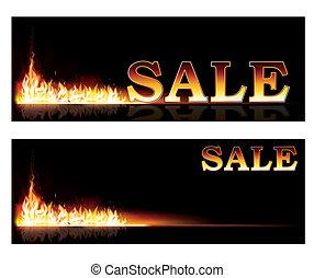 fuoco, bandiere, shopping, vendita, vettore