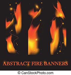 fuoco, bandiere, vettore, fondo