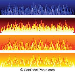 fuoco, bandiere, vettore