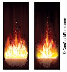 fuoco, banners., vettore, fiamma