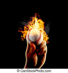 fuoco, baseball, fiamme, mano