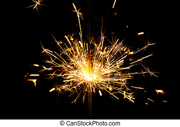 fuoco, bengala, fondo, nero,  sparkler, Natale