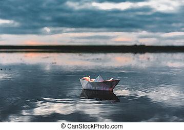 fuoco, bianco, barca carta