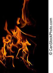 fuoco, black., astratto