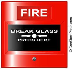 fuoco, bottone, emergenza, rosso
