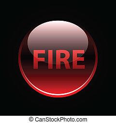 fuoco, bottone, lucido, rosso