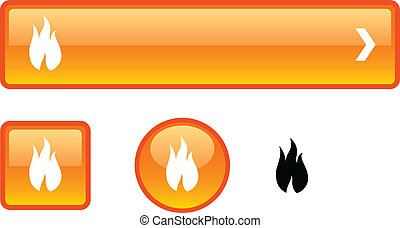 fuoco, bottone, set.