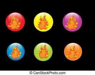 fuoco, bottoni